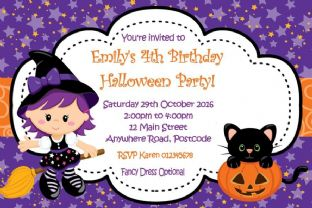 Personalised Cute Witch Halloween Invitation